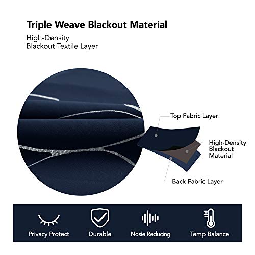 Deconovo Blackout Curtains Wave Foil Print Pattern Room Darkening Thermal Insulated Panels Energy Saving Drapes for Bedroom 52W x 63L Inch Set of 2 Panels Navy Blue