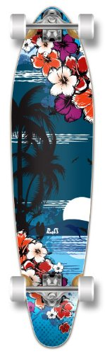 Special Graphic Complete Longboard KICKTAIL 70's shape skateboard w/ 70mm wheels, Hawaii Tropical Night - Kicktail Longboard Skateboard