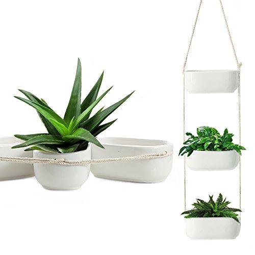 (Rectangular Hanging Planter, 3-Tier Hanging Plant Pot, Rustic Hanging Planters for Outdoor Plants, Ceramic Hanging Pot Planter for Indoor & Outdoor, White Hanging Planter Basket, Triple Plant Hanger)
