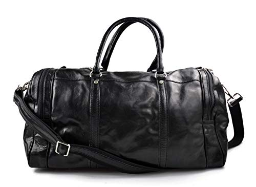 Mens leather duffle bag black shoulder bag travel bag luggage weekender carryon cabin bag gym leather bag ()
