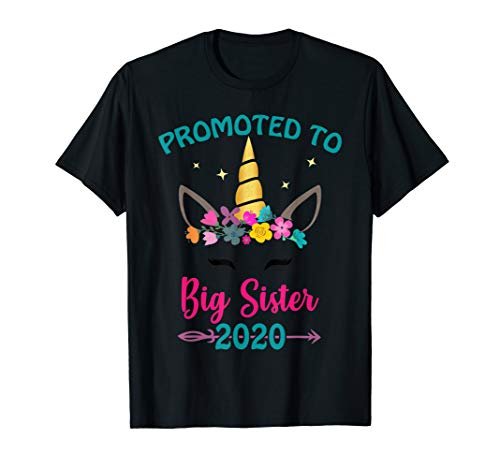 - Promoted to Big Sister 2020 Unicorn Face Gift for Girls Kids T-Shirt