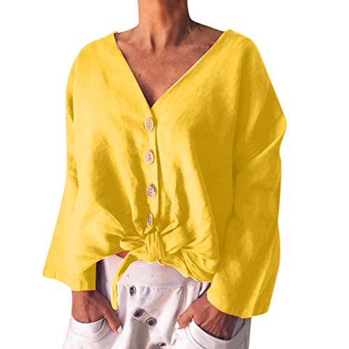 TOOPOOT 2019 New Tops for Womens, Ladies Vneck T-Shirt Solid Sleeve Buckle Blouse Tops Yellow]()