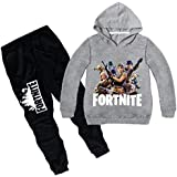 2 piece set 3D digital printing Fortnite printing fashion long sleeve round collar hoodie pants children cotton clothing Suit