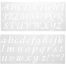 Darice 121724 Calligraphy Font Upper and Lower Case Alphabet Stencil, 2-Inch