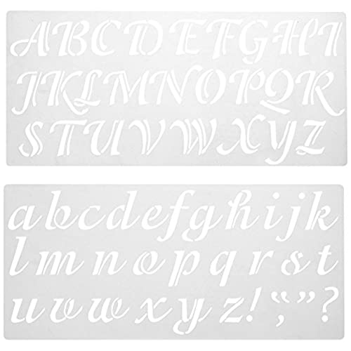 darice 121724 calligraphy font upper and lower case alphabet stencil 2 inch