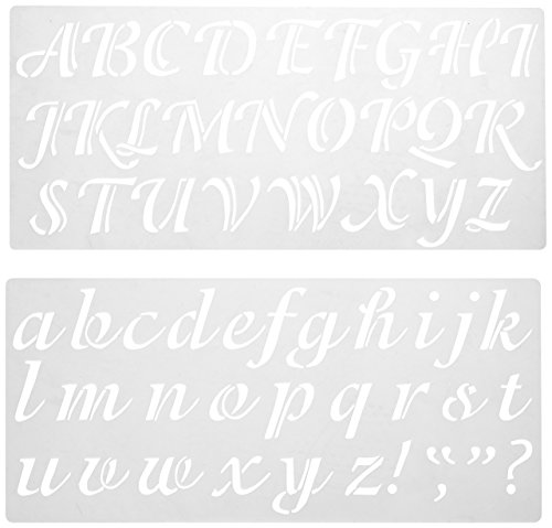 Darice 121724 Calligraphy Font Upper and Lower Case Alphabet Stencil, 2-Inch -