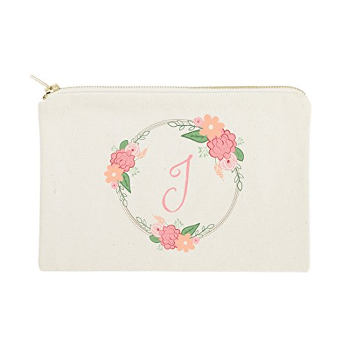 The Cotton & Canvas Co. Personalized Colored Monogram Floral Cosmetic Bag and Travel Makeup Pouch