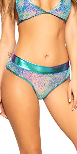 (Sexy Snowflake Sequin and Shimmer Shorts - Jade/Blue -)