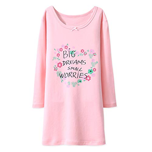 BLOMDE Toddler Girls' Floral Nightgown Long Sleeve Cotton Nightie Pink for 7-8 Years