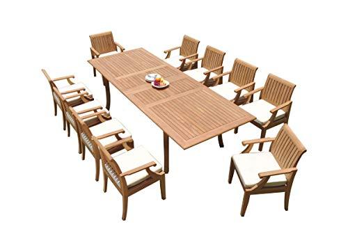 TeakStation 10 Seater Grade-A Teak Wood 11 Pc Dining Set: 118