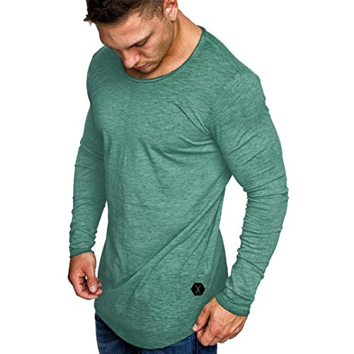 - AKIMPE Mens Autumn Fashion Casual Slim Fit Muscle Long Sleeve O-Neck T-Shirt Top Blouse