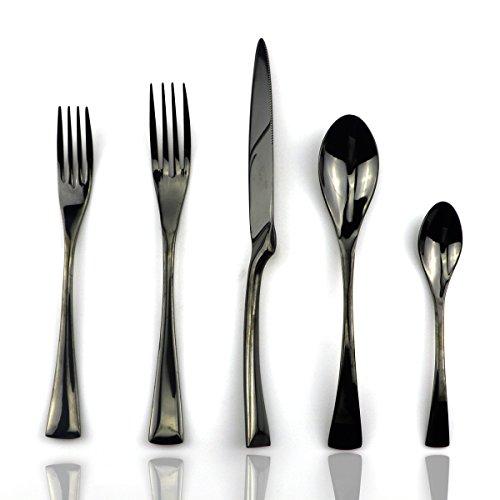 JASHII 18/10 Stainless Steel 20 Piece Mirror Polished Black Flatware Set,Dinner Knife Fork Salad Fork Dessert Spoon Coffee Spoon,Service for 4 ,Black Utensil Sets (Black Knife Dessert)