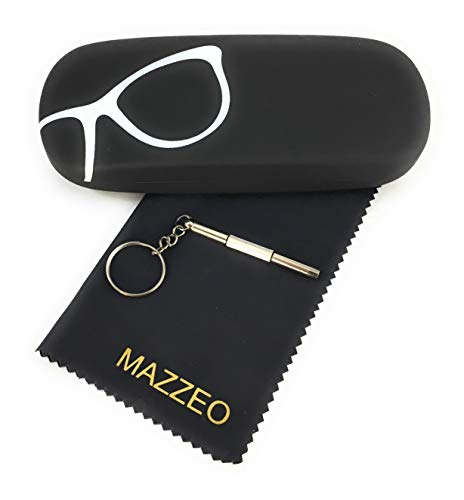 Hard Shell Glasses Case Kit With a Cleaning Cloth and Repair Tool For Men or Women (Black w Glasses)