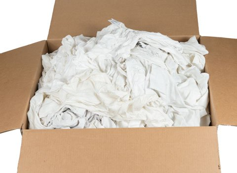 Recycled White T-Shirt Rags - 18'' x 18'' - 50 Pounds in a Box - by RagLady by RagLady