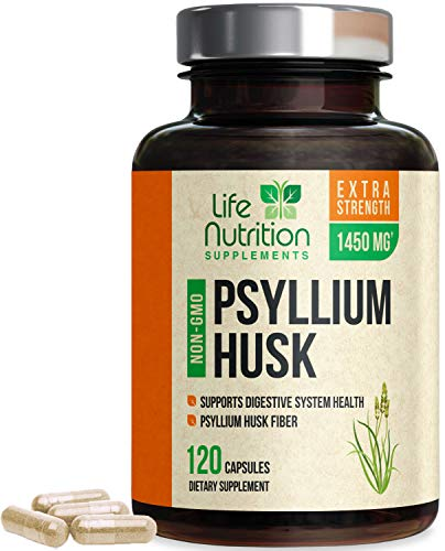 Psyllium Husk Capsules High Potency Dietary Fiber 1450mg – Psyllium Powder Supplement – Made in USA – Best Vegan Soluble Pills, Helps Support Digestion & Regularity – 120 Capsules