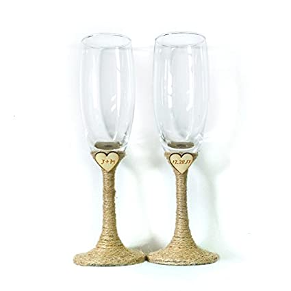 b2cf89b8c13 Bride and Groom Glasses, Initials and Date Engrved,Wedding Glasses Set  Engraved Heart,