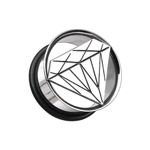 Single Flared PlugSold as Pairs 19mm WildKlass Jewelry Diamond Cut Hollow Steel 3//4