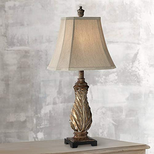 (Tulip Traditional Table Lamp Aged Gold Leaf Pattern Tan Bell Shade for Living Room Family Bedroom Bedside Nightstand Office - Regency Hill)