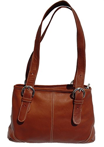Piel Leather Medium Buckle Handbag, Saddle, One Size