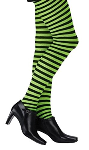 Music Legs Plus Size Opaque Striped Tights Black/Neon Green Queen -