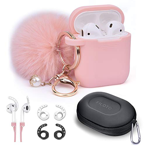 Airpods Case - Filoto Airpods Silicone Protective Case Cover with Cute Pompom/Keychain/Strap/Earhooks/Carrying Case for Apple Airpods 2&1 Charging Case, Air Pods Cover for Women & Girls (Pink)