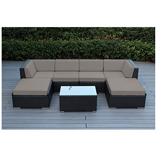 Garden and Outdoor Ohana 7-Piece Outdoor Patio Furniture Sectional Conversation Set, Black Wicker with Sunbrella Taupe Cushions – No… outdoor lounge furniture