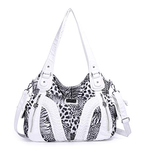 - Angelkiss Women Top Handle Satchel Handbags Shoulder Bag Messenger Tote Washed Leather Purses Bag (White Leopard)