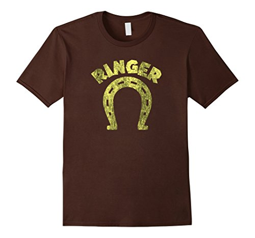 Ringer Mens Brown (Mens Ringer T-Shirt Funny Horseshoe Tee Large Brown)