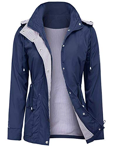 UUANG Women's Rain Jacket Waterproof Hooded Active Outdoor Raincoats (Navy Blue,XL)