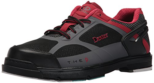Dexter Men's The 9 HT Bowling Shoes, Black/Red/Grey, Size 12.0 ()
