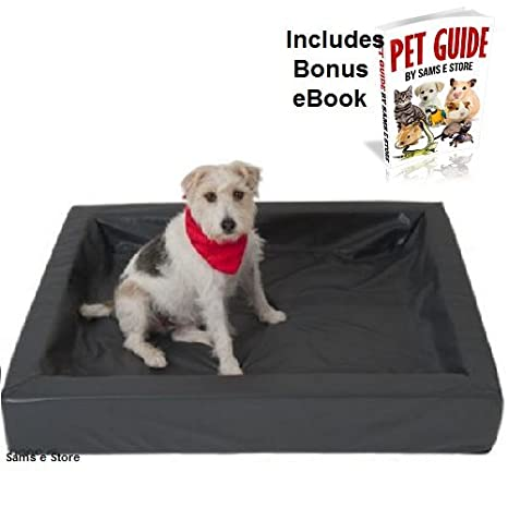 Perro cama de espuma con efecto memoria transpirable de piel sintética bordes doblados higiénico fácil de