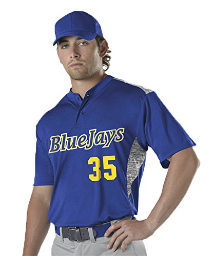 Jersey Baseball Stock (Alleson Adult Two Button Stock Baseball Jersey Royal S 522CPJ 522CPJ-RO-S)