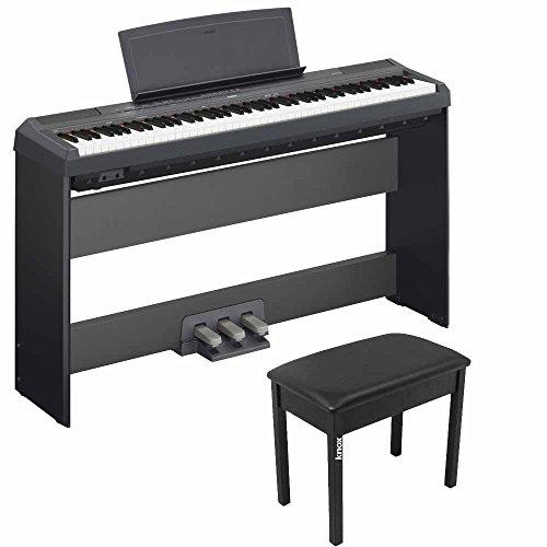 Yamaha P115B 88 Weighted Keys Digital Piano w/ Yamaha L85 Stand, LP5A 3-Pedal Unit & Knox Bench