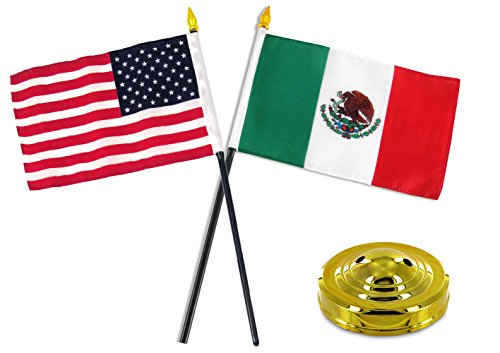 (ALBATROS Mexico Mexican with USA American Flag 4 inch x 6 inch Desk Set Table Stick with Gold Base for Home and Parades, Official Party, All Weather Indoors Outdoors)
