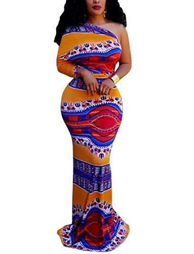 Coolred Tie Waist Shoulder Long Over One Maxi Women Dye Print As3 Dress BBqxHR4Fw