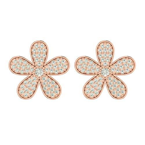 ASHNE JEWELS IGI Certified 0.49 Carat Round-Shape Natural Diamond (G-H Color, I1-I2 Clarity) 14K Rose Gold Floral Stud Earrings For Women