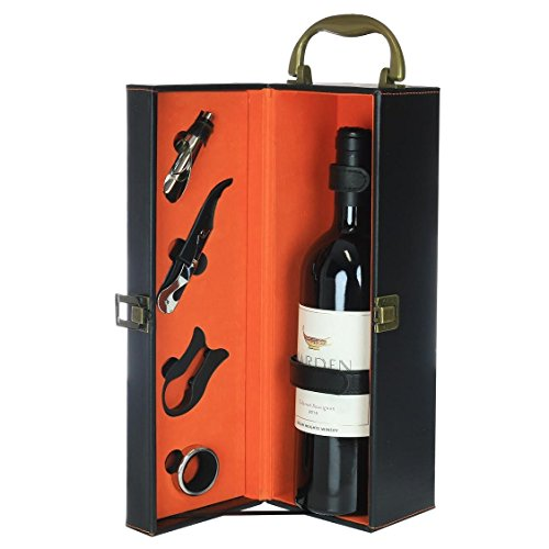 Zalik Wine Gift Box Set Bounded Leather Wine Case – Wine Carrier For Standard Wine Bottle And Serving Accessories - 4 Peace Wine Accessory Set Corkscrew, Foil Cutter, Drip Ring And Wine Pourer