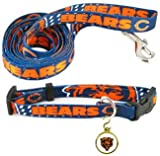 CHICAGO BEARS NFL Dog Pet Leash Collar ID Tag Set Med