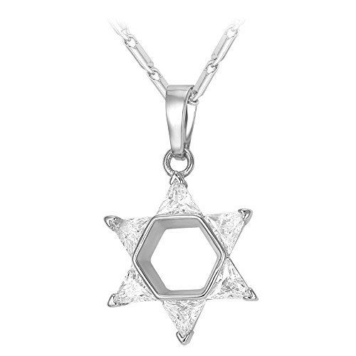 U7 Cubic Zirconia Six-pointed Star Necklace Platinum Plated Chain Jewish Star of David Pendant