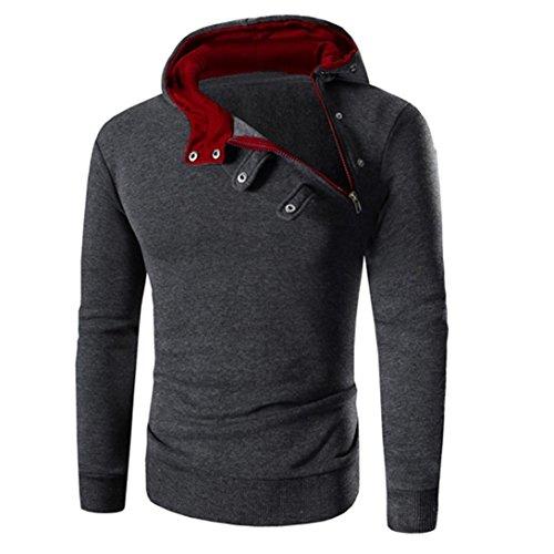 Bestpriceam Mens' Long Sleeve Hoodie Hooded Sweatshirt Tops Jacket Coat Outwear (M, Red 1) (Barnes Wool Top Coat)