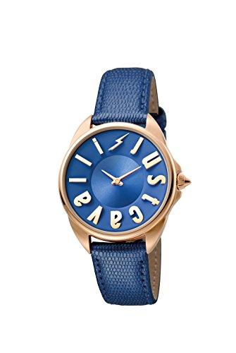 Just Cavalli Logo Women's JC1L008L0055 Quartz Blue Calfskin Leather Strap Watch