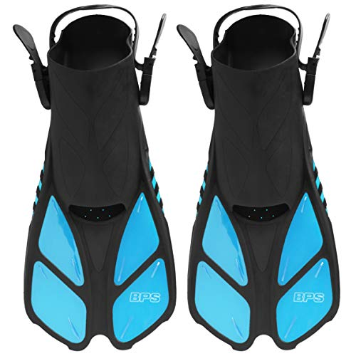BPS Short Adjustable Swim Fins - Open-Toe and Open-Heel Design - for Diving, Snorkeling, Scuba Diving - Swim Flippers for Kids and Adults - Unisex (Light Blue - L/XL)