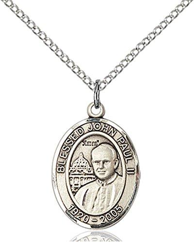 Sterling Silver Saint John Paul II Medal Pendant, 3/4 Inch John Paul Medal