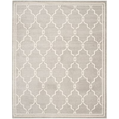 Safavieh Amherst Collection AMT414B Light Grey and Ivory Indoor/ Outdoor Round Area Rug