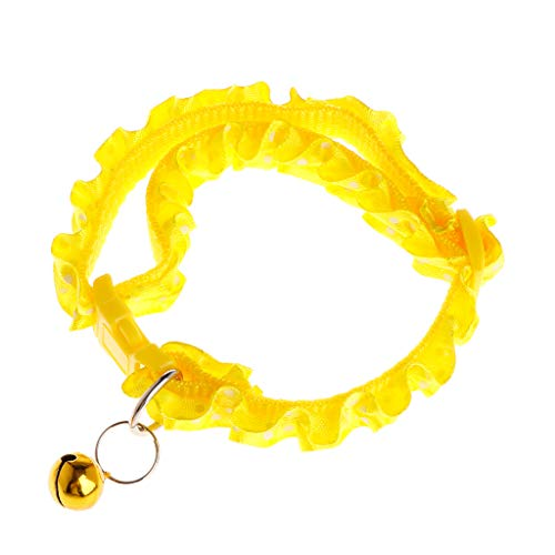 Kimnny Pet Collar, Pet Collar Floral Dog Puppy Cat Kitten Necklace Bell Sound Identify Adjustable Neck Strap Buckle Supplies Anti Lost Yellow