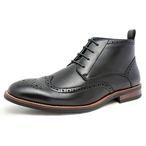 WULFUL Mens Leather Lined Oxfords Ankle Boots Black 12