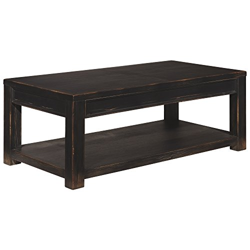 Ashley Furniture Signature Design - Gavelston Black Coffee Table - Cocktail Height - Rectangular - Weatherworn Black Black Rustic Coffee Table