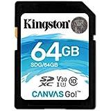 Kingston Canvas Go! 64GB SDXC Class 10 SD Memory Card UHS-I 90MB/s R Flash Memory Card (SDG/64GB)