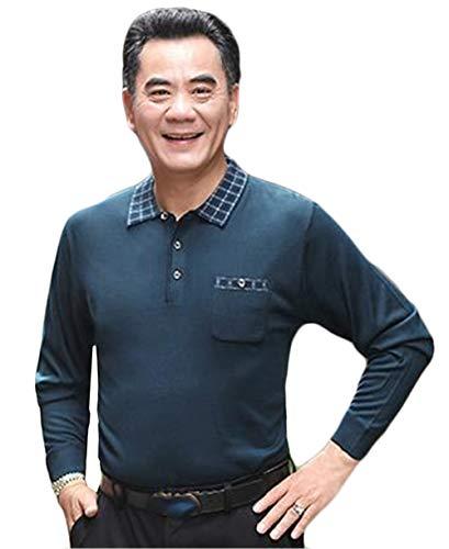[ジャンーウェ] ポロシャツ 長袖 チェック襟 一つポケット お父さん メンズ 秋冬春 敬老の日 プレゼント 40代 50代 60代 70代 80代 ファッション ビジネス ゴルフウエア カジュアル