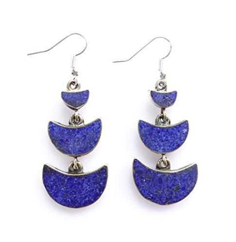 Dangle drop fashion earrings for women blue earrings lapis gemstone chip inlay designer long earrings Tibetan silver ethnic boho earrings ()